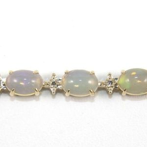 Jewelry - Fire Opal & Diamond Tennis Bracelet 14K YG 8.26Ct